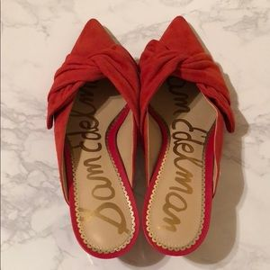NWT Sam Edelman Red Suede Low-Heel Slides! ❤️